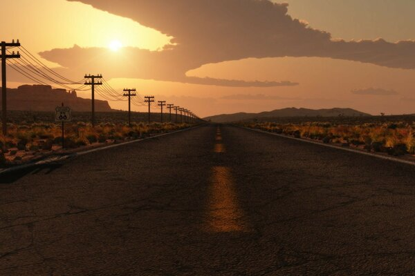 Highway to road to nowhere track in the desert