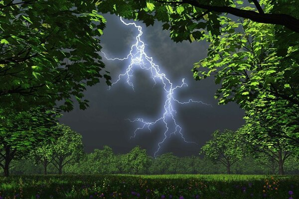 Lightning and fractals on the edge