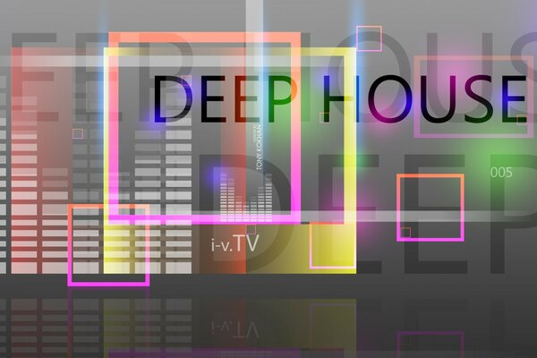 Deep House Music Square Abstract Words 2015 design by Tony Kokhan