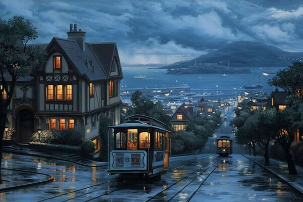 landscape An evening journey street city painting eveni
