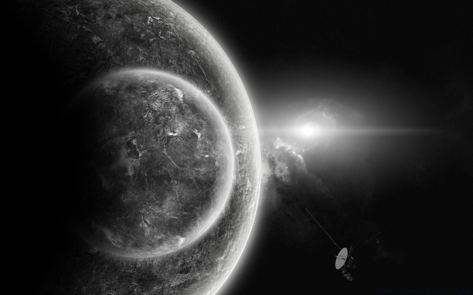 Planets In Black And White Android Wallpapers For Free