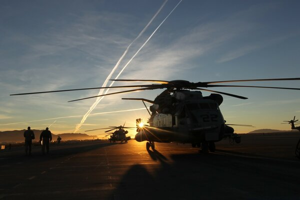 Helicopters In The Sunset