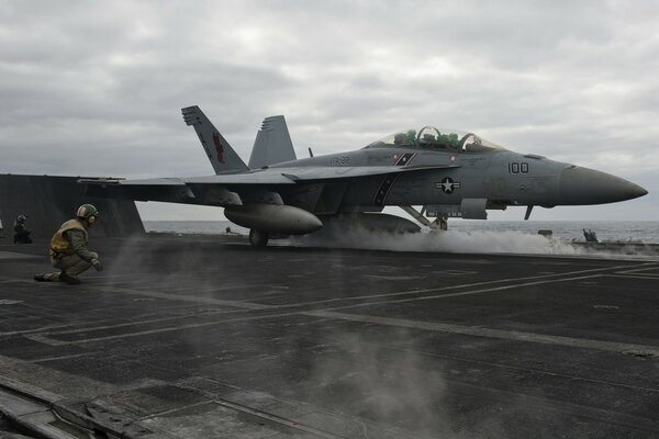 A Jet Launches from the Flight Deck of USS Carl Vinson