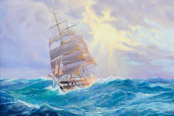 ship sea waves Adolf bock sailboat