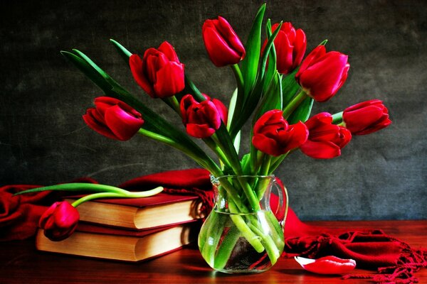 Red Tulips In A Vase On The Table