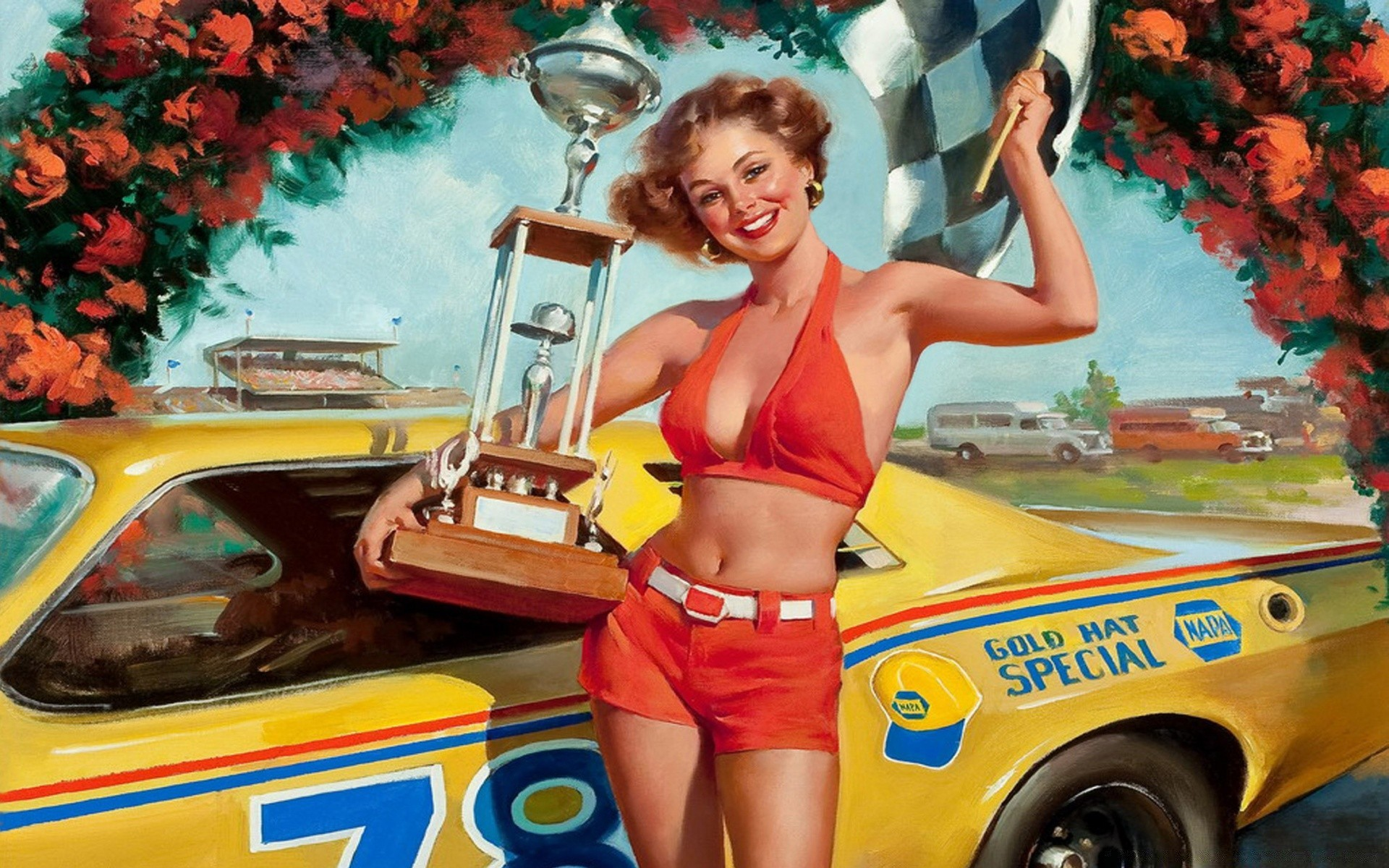Pin Up Racer Girl Android Wallpapers