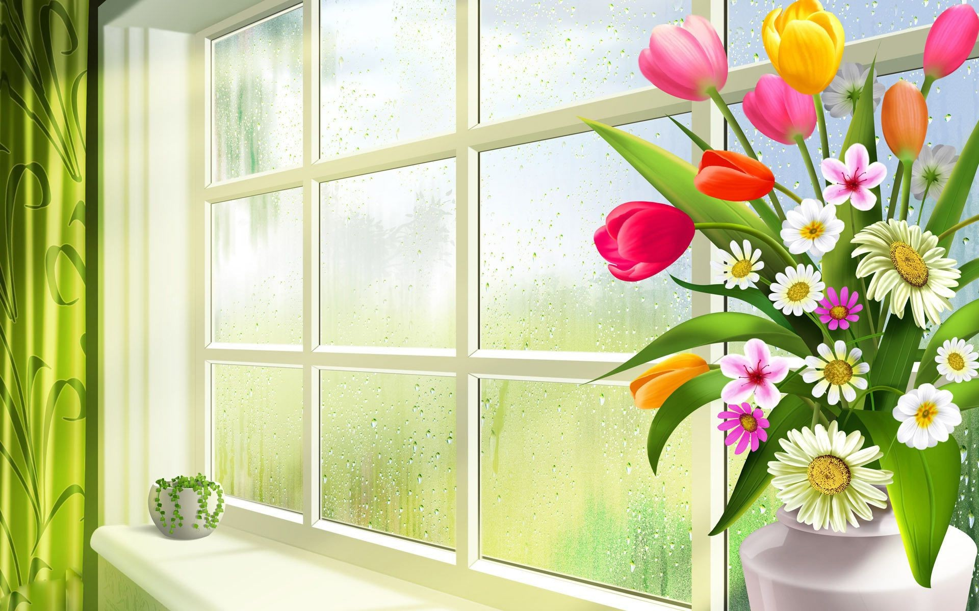 Spring flowers tulips daisies greenery vase pot glass