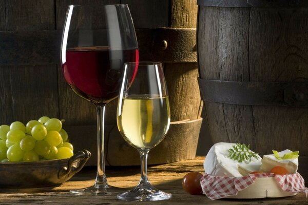 Wine cheese grapes glasses red white barrel