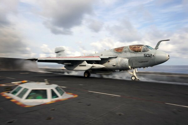 A Prowler launches from the flight deck of USS Dwight D. Eisenhower