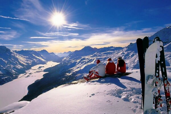 New year holiday mountains Alps winter snow snowboard