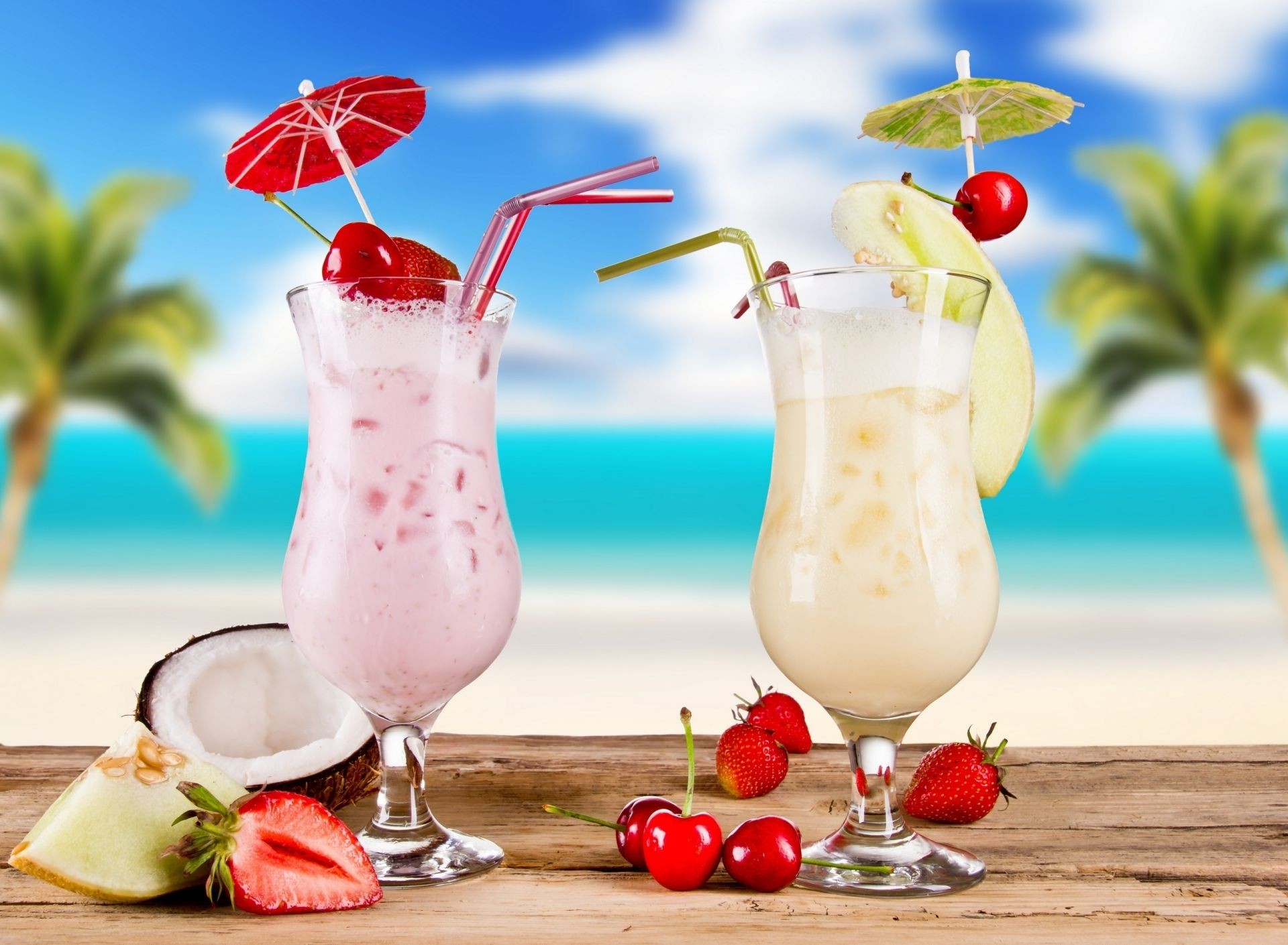 drinks milk summer fruit cocktail cream tropical yogurt drink glass juice berry mint strawberry food cold health sweet delicious