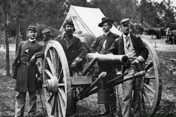 Officers And Cannon Vintage Photography