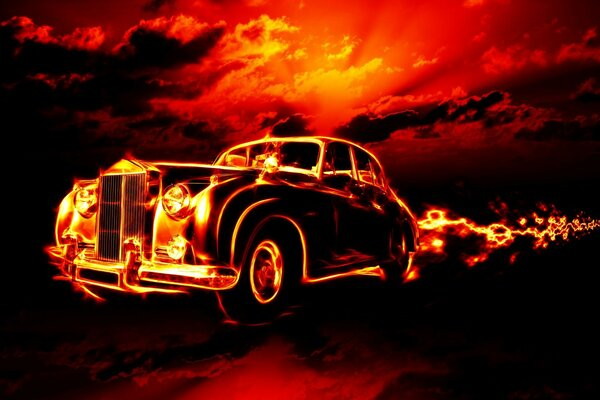 classic car flame fire horror clouds red sky hell ci