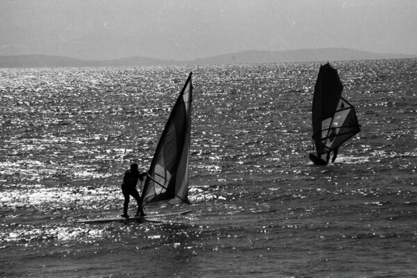 Windsurfing Black And White