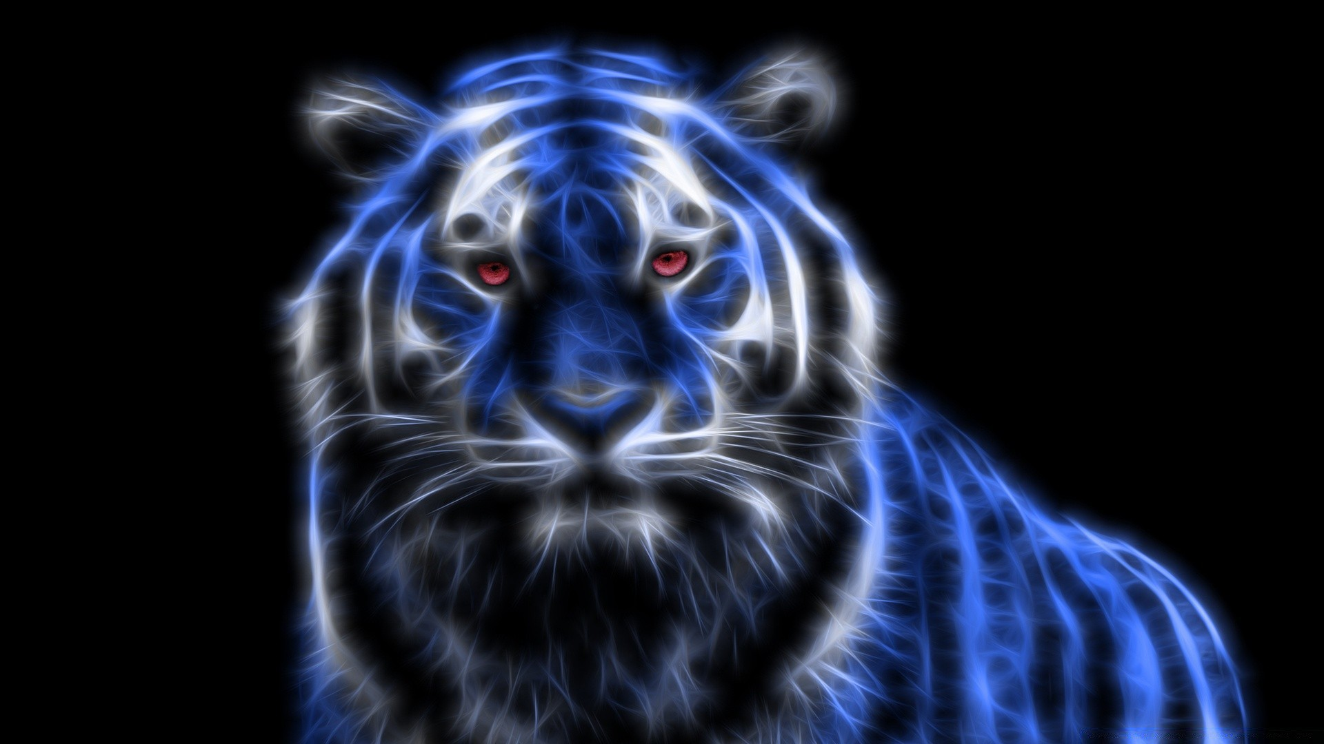 Blue Glowing Tiger Android Wallpapers