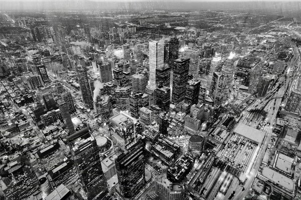 Aerial Photography, Toronto, Black and White