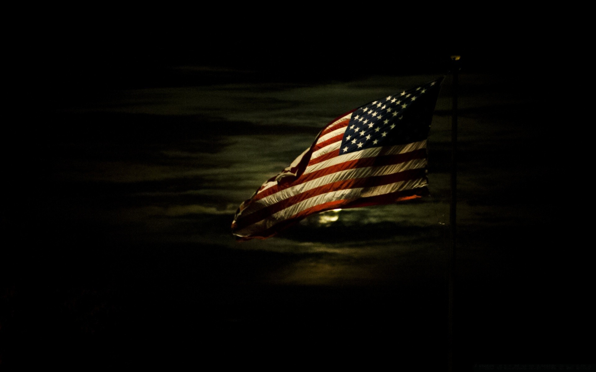 American Flag Lit By A Full Moon Phone Wallpapers