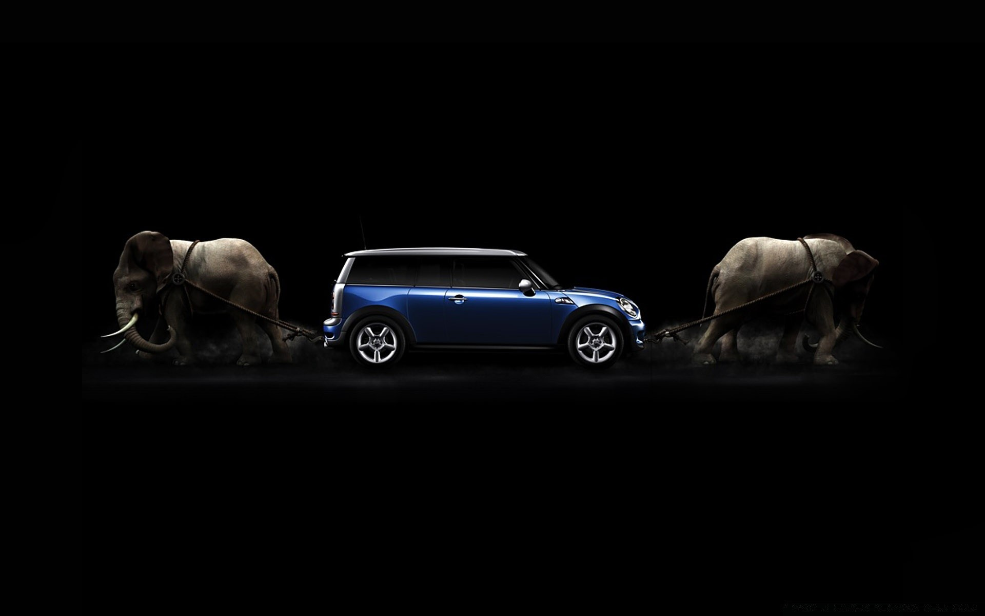 Mini Cooper Drawn By Elephants Android Wallpapers