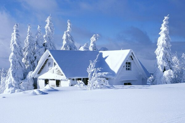 landscape nature winter snow house
