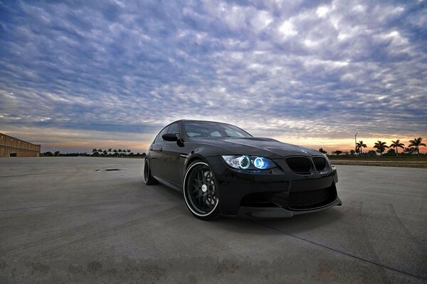 bmw e90 black sky the black sky sunset, BMW m3