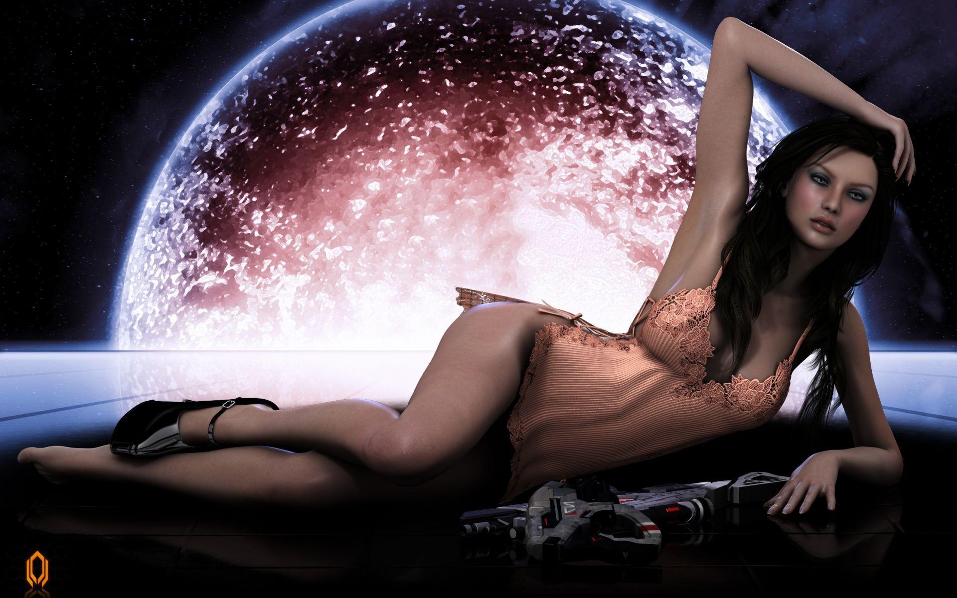 art wallpaper Girl nude woman fantasy