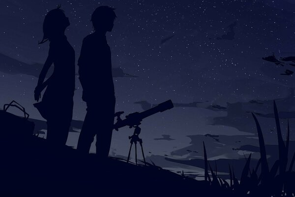 two sky stars silhouettes the night