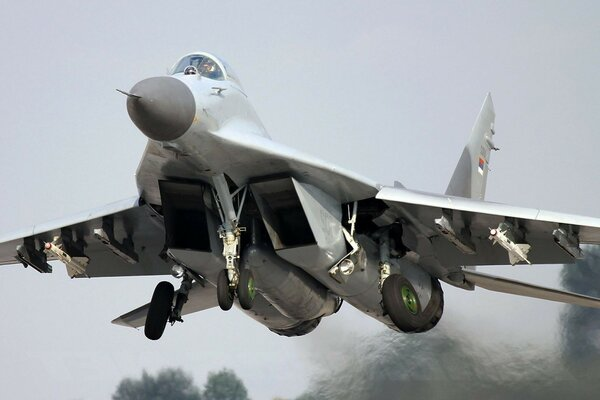 the MiG-29 aircraft takeoff