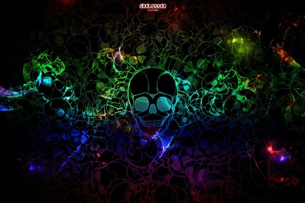Colorful Skulls Black