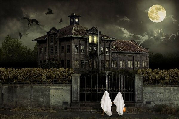 the night of Halloween the building of the monastery house the clouds the sky the moon