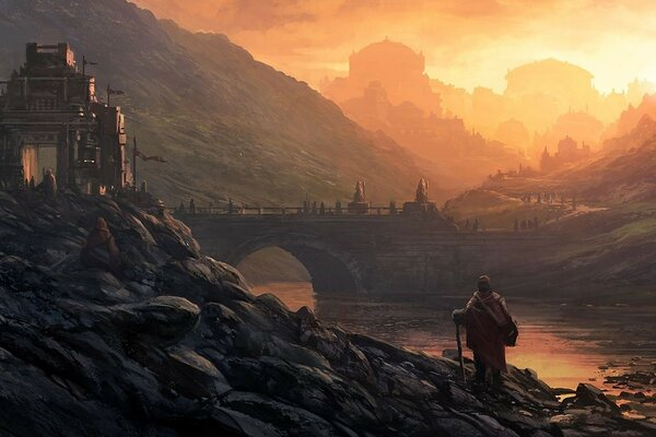 castle river city people bridge landscape Art andreas rocha