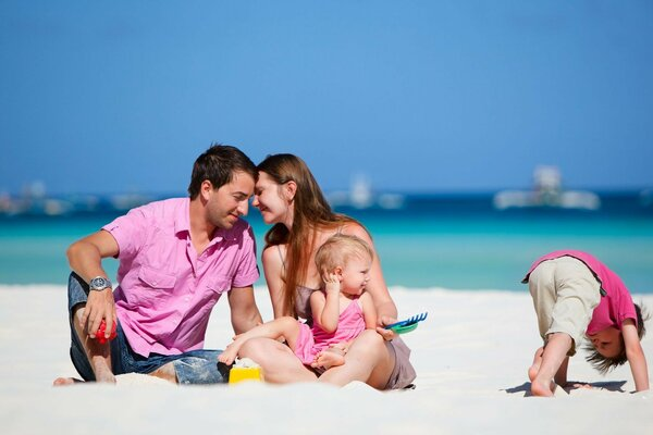 family beach children kid sand sea