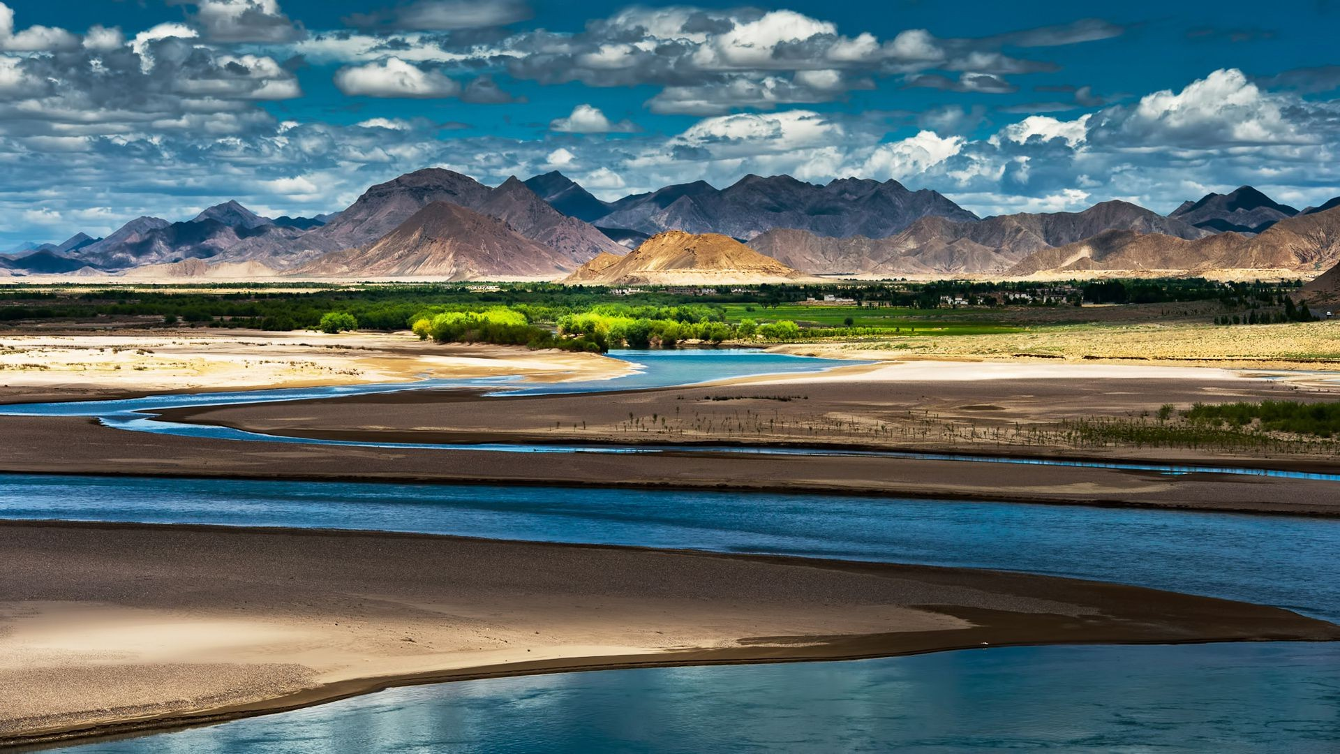 sky light river clouds mountains Tibet the shade of the oasis China
