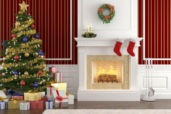 interior gifts fireplace Christmas tree