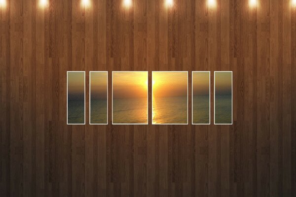 Sunset Beach Picture Wood Wall
