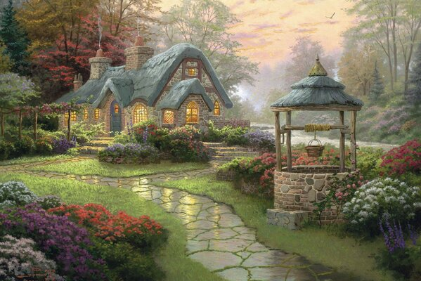 thomas kinkade forest Landscape painting flowers make a wish co