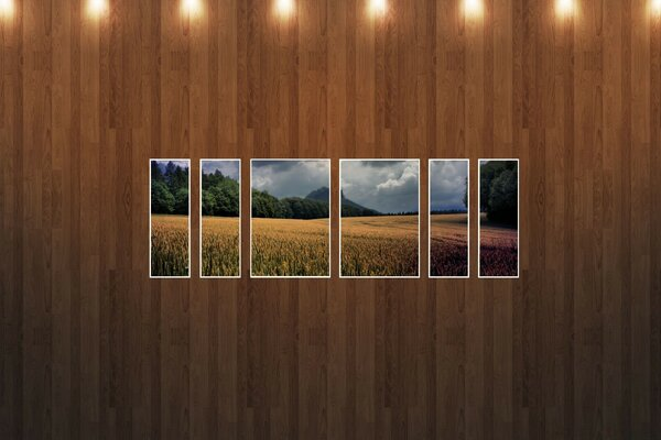 Wheat Field Picture Wood Wall