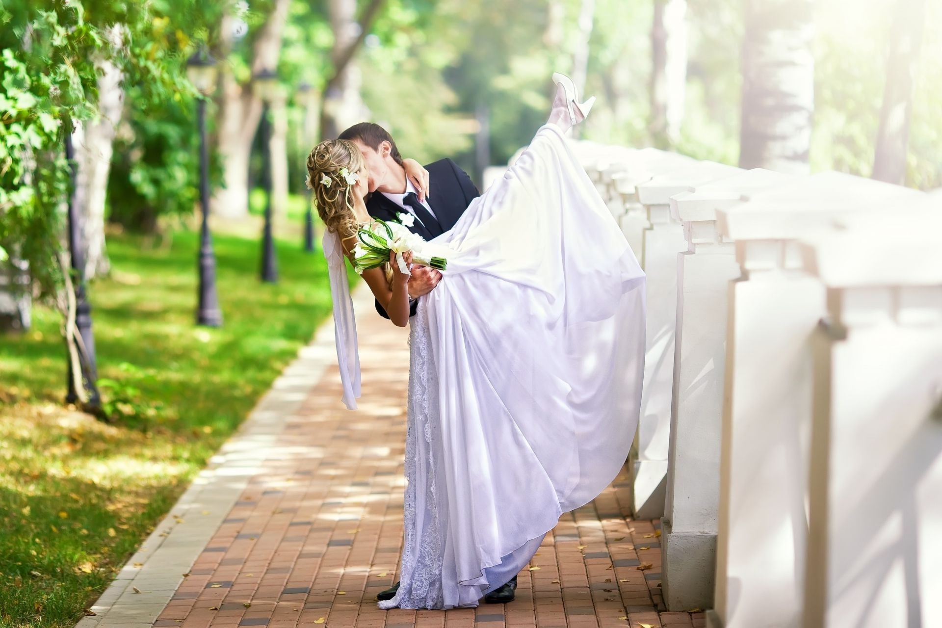 love and romance outdoors nature wedding summer woman love bride veil relaxation leisure marriage young man fair weather groom