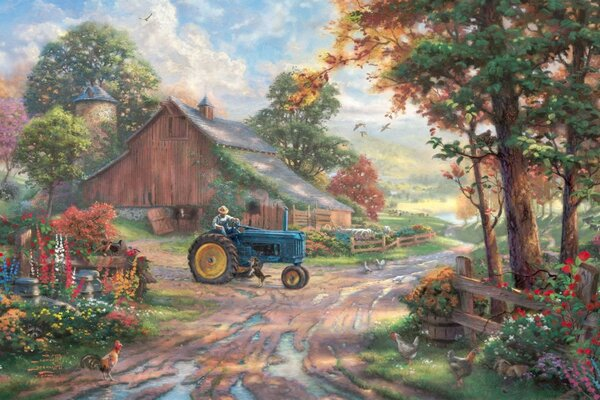 heritage animals Summer dog summer barn painting thoma