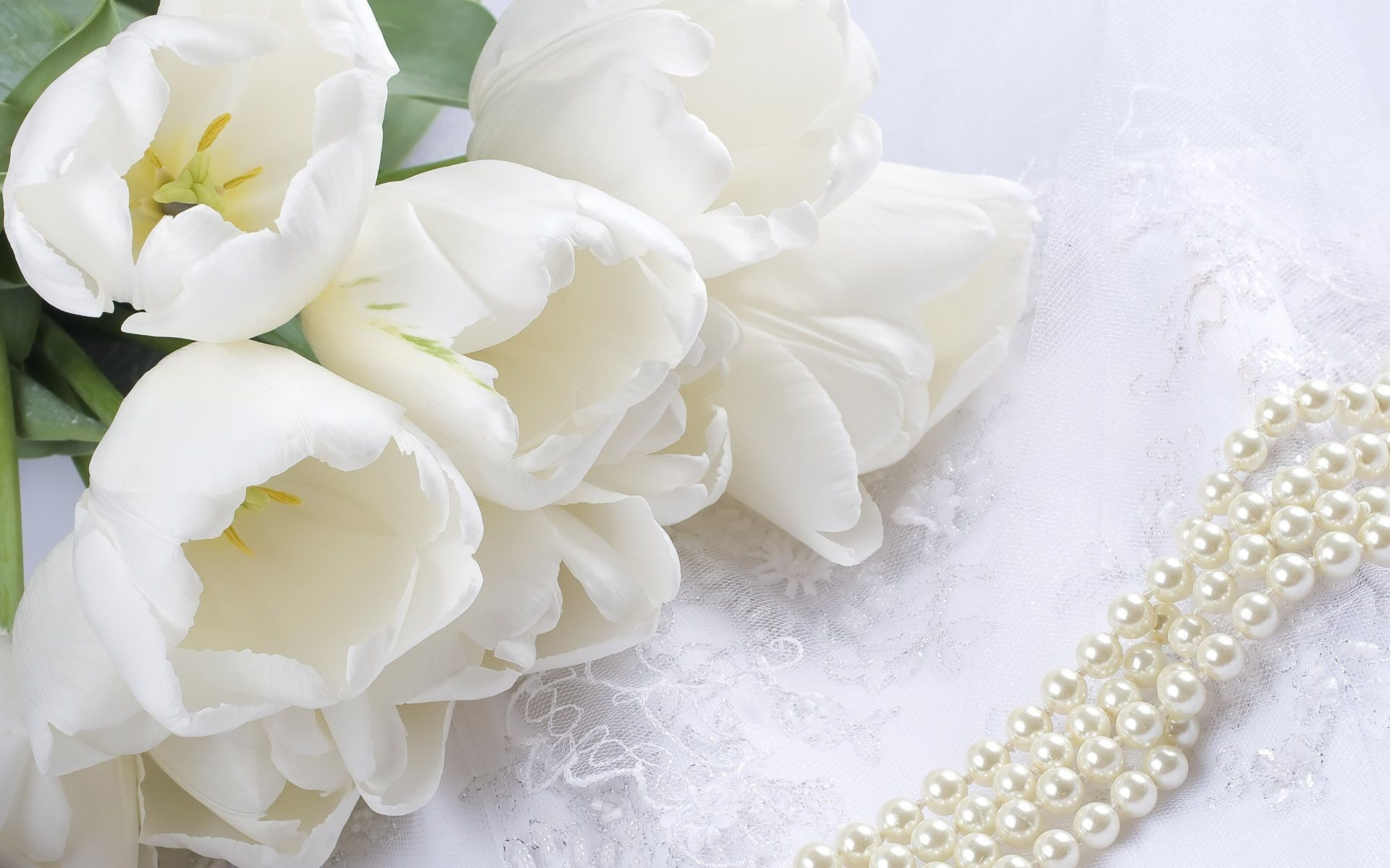Flowers pearls white lace tulips bouquet beads