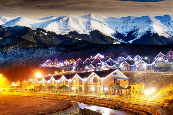 village Countryside the night forest houses lights winter winter,