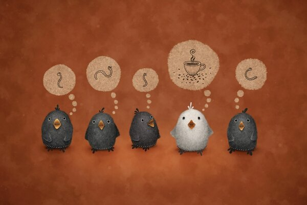 worms birds background vladstudio, the white crow