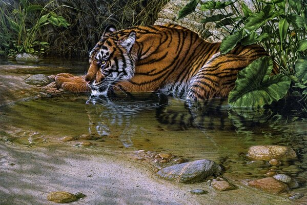 lee kromschroeder painting river tiger jungle tiger thi