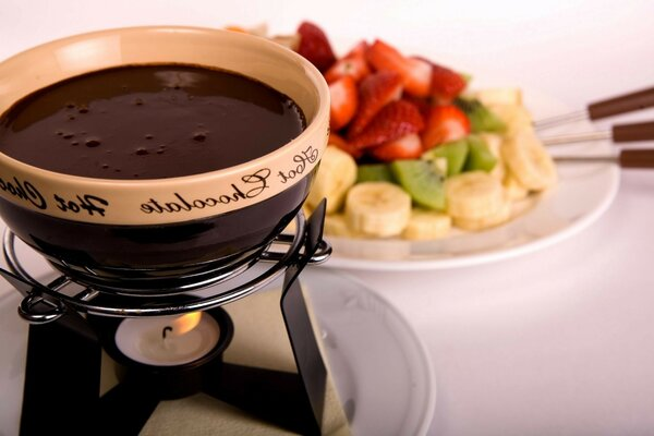 Food liquid chocolate fondue delicious hot drink