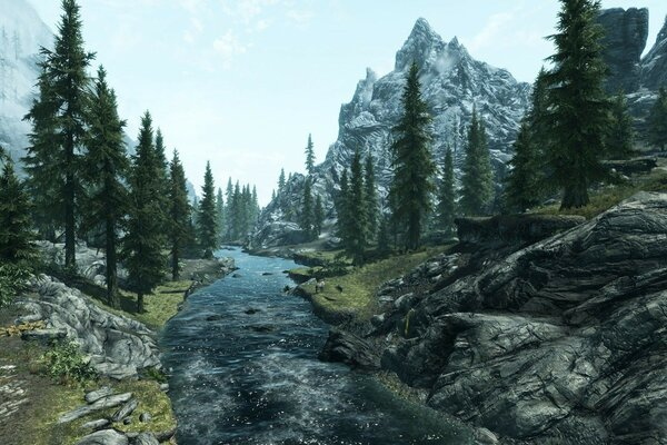 trees The elder scrolls v skyrim mountain river landscape