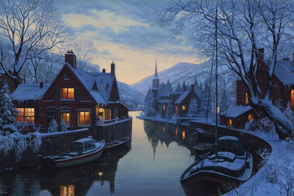 An old inn by the river painting winter chapel eugeny lu