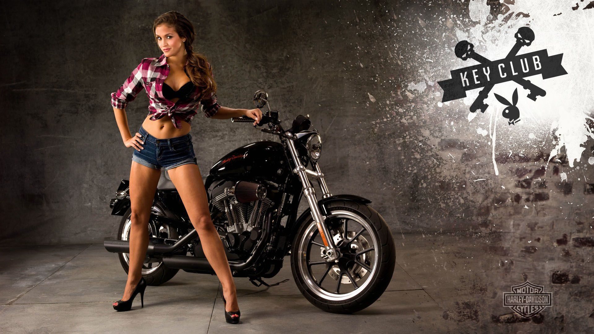 Harley davidson Moto motorcycle girl. Android wallpapers