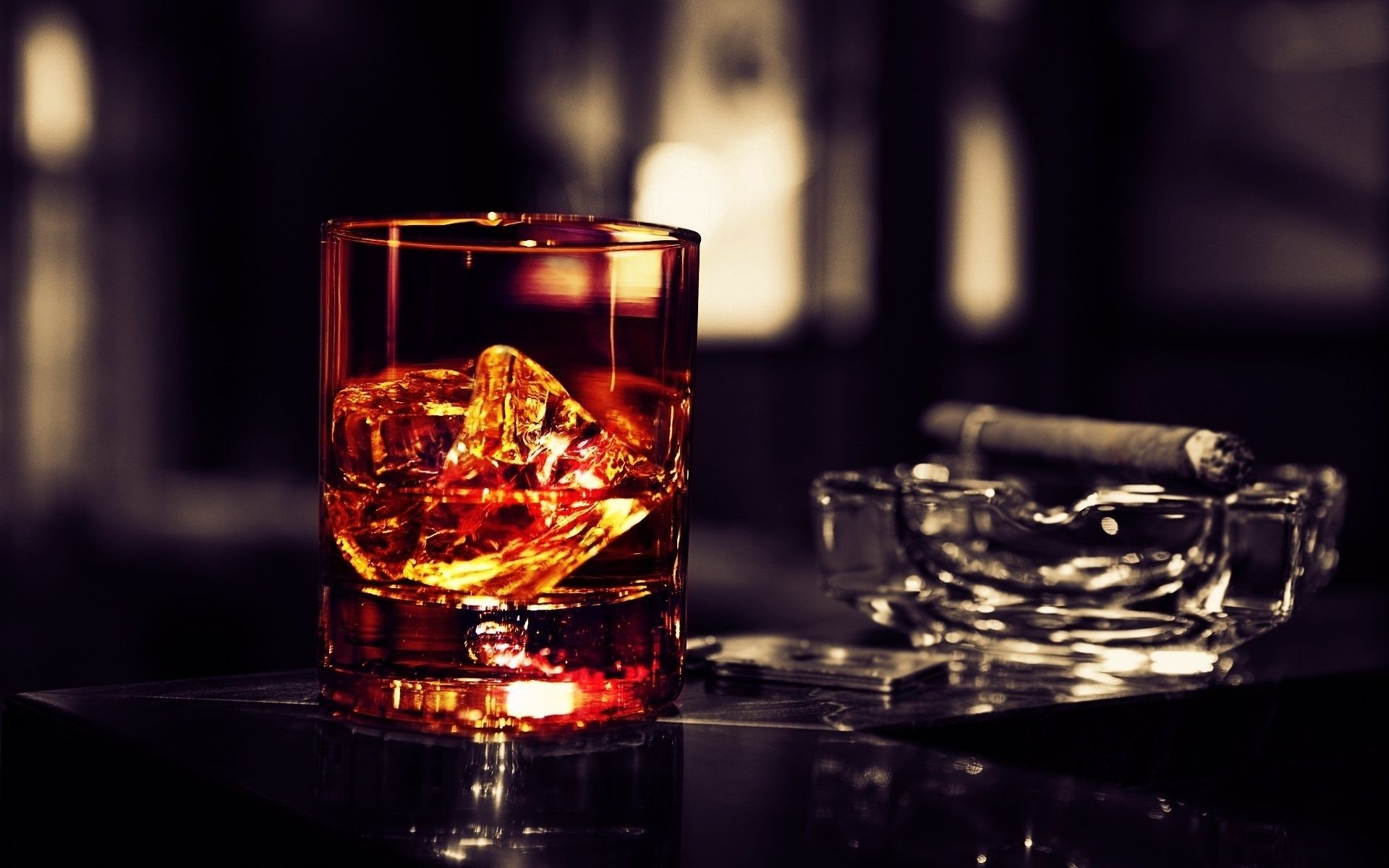 Cigar Whiskey Glass Of Ice Android Wallpapers