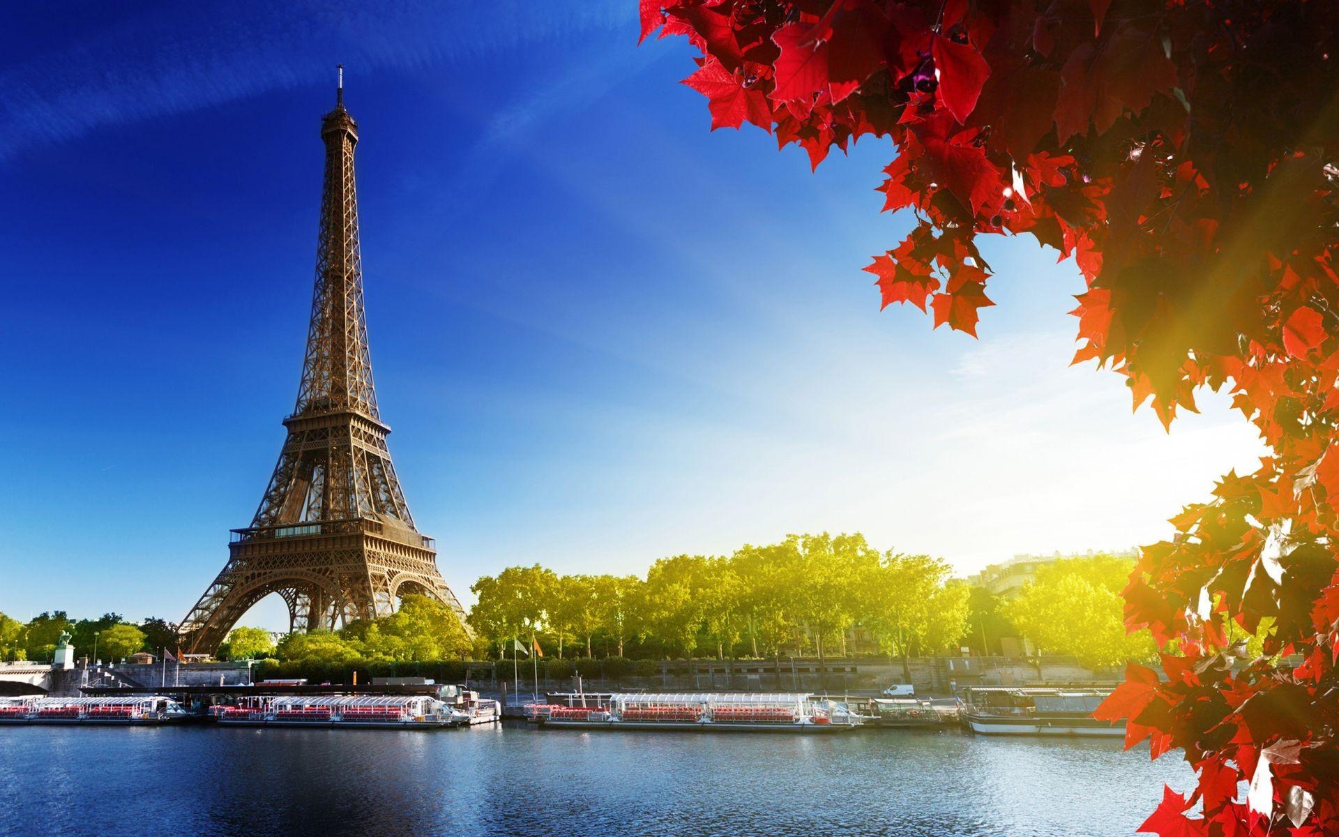 Leaves River Eiffel Tower Paris Autumn Phone Wallpapers