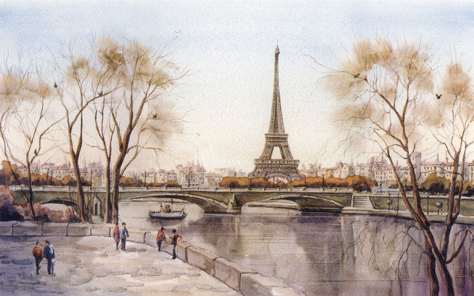 City Eiffel Tower Paris River France Picture
