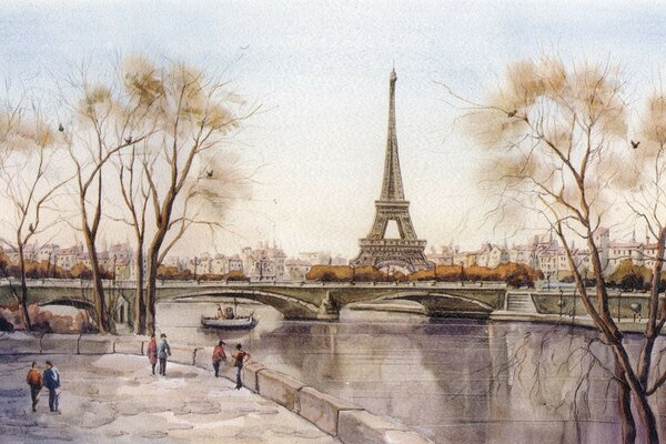 city Eiffel tower Paris river France picture